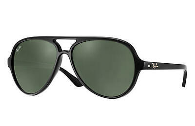 NEW RAY-BAN CATS SUNGLASSES Black Frame / Classic Green G-15 Lenses RB4125