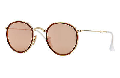 NEW Rayban Foldable Round sunglasses RB3517 001/Z2 48mm Gold Pink Copper (Foldable Sunglasses Cheap)