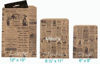200 6x9 Newspaper Print Paper Kraft Bagsvintage Style Newsprint Favor Craft Bag