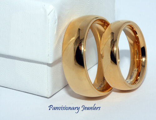 8mm Tungsten Carbide Ring Gold Ip Dome Wedding Band Size 9 10 11 12 13 Inc 1/2