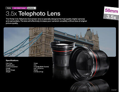 Vivitar 3x Tele Lens For All 58mm/52mm 43mm 46mm 55mm For Digital/film Slr