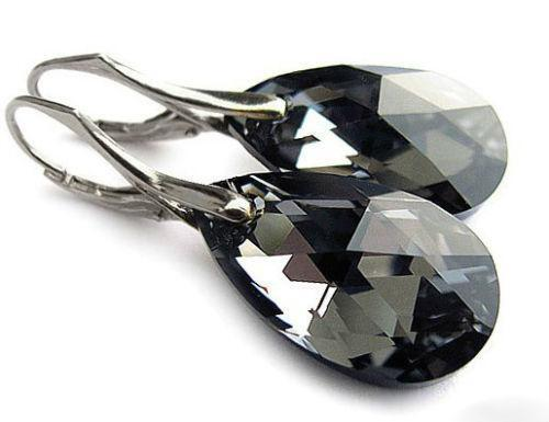 Black Swarovski Crystal Earrings Ebay