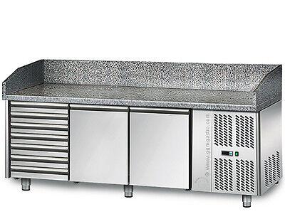 [POS208S] Pizzakühltisch 2,0mx0,8m - mit 2 Türen und 7 neutralen Schubladen