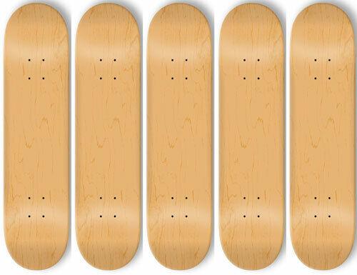 5 BLANK Skateboard DECKS Deck 8.25 in NATURAL + GRIPTAPE