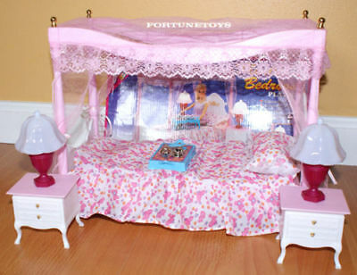 GLORIA DOLLHOUSE FURNITURE Canopy MASTER BEDROOM LAMPS Bed sheet SET FOR Barbie