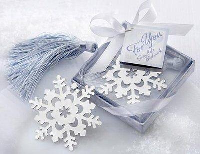 Snowflake Bookmark Elegant Ice-Blue Tassel Favor Winter Theme Wedding Favor Book (Elegant Wedding Themes)