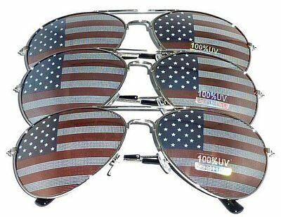 3 PAIRS of SILVER US Aviator USA American Flag Sunglasses United States stars