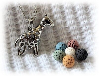 Small Giraffe Aromatherapy Essential Oil Necklace Diffuser With 6 Lava Stones