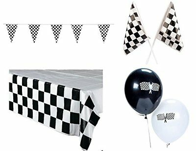 Racing Decorations Party Bundle Black White Checkered Banner Finish Line flags