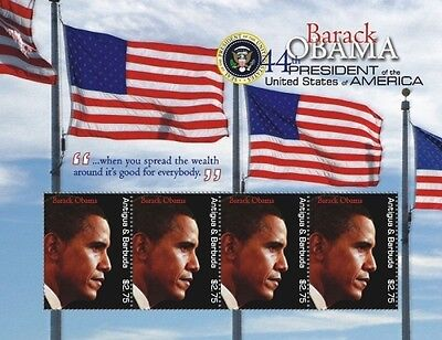 Antigua and Barbuda - 2009 President Barack Obama on Stamps- s/h of 4 SC#3031