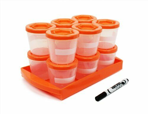 Baby Food Containers- Sprout Cups - Reusable Stackable Storage Cups (12 Pack)