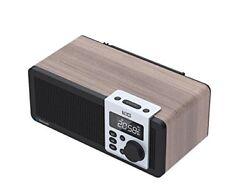Retro Wooden CSR Bluetooth Speaker  with FM Snooze Alarm clock Radio Mic remote