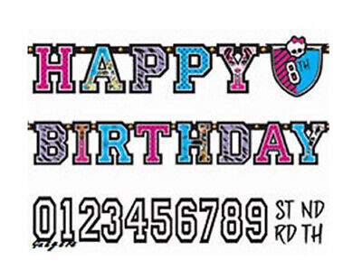 MONSTER HIGH DOLLS Birthday party supplies jumbo LETTER BANNER customize add age - Monster High Birthday Party