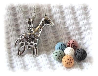 Small Giraffe Aromatherapy Essential Oil Necklace Diffuser With 6 Lava Stones