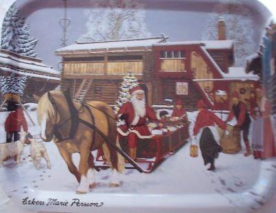 Großes Tablett Aus Holz (großes Holzfurnier Tablett Motive Weihnachten aus Schweden)