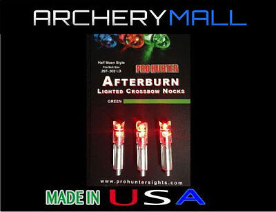 - 3 RED AFTERBURN CROSSBOW ARROWS LIGHTED NOCKS HALF MOON .297-302 I.D.