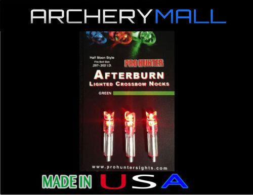 3 RED AFTERBURN CROSSBOW ARROWS LIGHTED NOCKS HALF MOON .297-302 I.D.