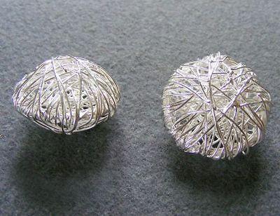 28mm Perle (Wickelperle Diskus, 28 mm, versilbert)
