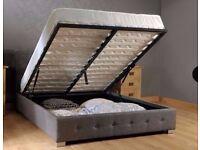 Nicole Fabric Ottoman Storage King Size Bed Frame Grey