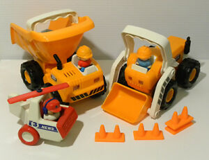 Mechanical Dump Truck and Bulldozer with News Helicopter