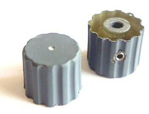 Scalloped Panel Equipment Volume Control Knobs D-Shaft Gray Plastic (10 pieces)