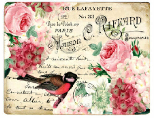 Vintage Image Pink Roses Birds Postcards Labels Furniture Transfers Decal BIR841