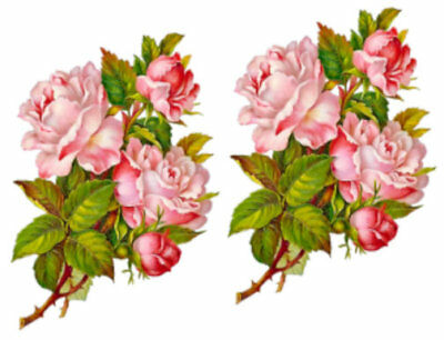 Vintage Image Shabby Pink Rose Flower Floral Bouquet Waterslide Decals FL485