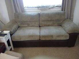 Fabric & Leather 3 seat Sofa excellent condition.