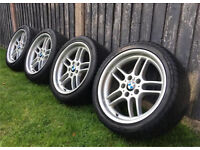 """18"""" BMW Style 37 M Parallel Style Alloy Wheels and Tyres, 5x120, E39 E36 E34"""