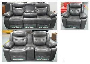 LORD SELKIRK FURNITURE - Liquidation Sale! Arlane 3PC Sofa, Loveseat & Chair Recliner Set in Grey Leather Gel - $1499.00