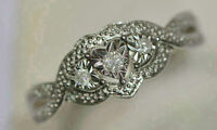 Sterling Silver Diamond Ring With Appraisal Sz 6.5