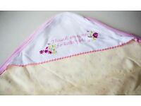 Yellow and pink floral baby girl's blanket