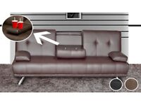 Brand New Manhattan 3 Seater Faux Leather Cinema Style Sofa Bed with Cup holders in Black & Brown