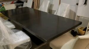 Solid Wood Dining Table with Base and Inserts