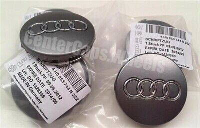 (4pcs) 2000-2016 Audi 59mm Gray Center Caps Wheel Hub Caps Fits: ALL MODELS