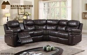 MOTION UPHOLSTERY SECTIONAL OFFERED IN BROWN AIREHYDE-MATCH