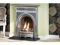 "The Fairburn 36"" cast iron fireplace in Full polished"