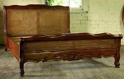 "Reproduction Mahogany Louis Rattan 4'6"" Double Low End French Style Bed New"