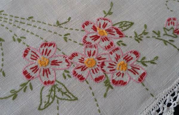 Vintage Linen Table Runner Set Pink Hand Embroidered Floral Dresser Scarf Doily