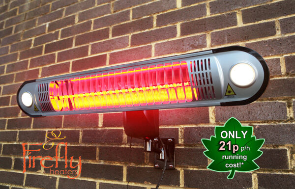 Beautiful Halogen Electric Patio Heater Firefly 1.5kW Garden Outdoor Lights U0026 Remote