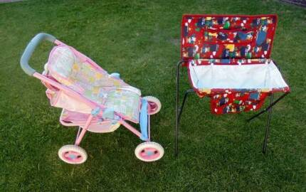 DOLL'S PRAM AND DOLL'S  CHANGE TABLE WITH BATH