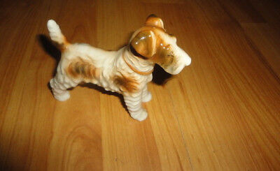 WIRE HAIRED FOX TERRIER STANDING FIGURINE OCCUPIED JAPAN