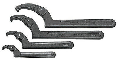 J.H. Williams WS-474 Industrial Black Finish Fractional SAE Adjustable Hook Spanner Wrench Set W Roll Pouch 4 PC Tools and Accessories