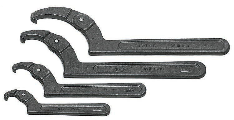 Adjustable Hook Spanner Wrenches 4pc Set JH Williams USA #WS-474