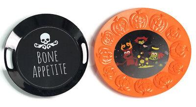 Halloween Serving Trays Party Snack Table Orange Black Pumpkin Bone Appetite