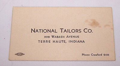 Vintage National Tailors Co 509 Wabash Ave Terre Haute Indiana Business Card