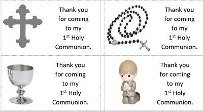 40x Personalised SILVER 1st Holy Communion/labels/stickers/party/cake/sweets/bag](Communion Party Bags)