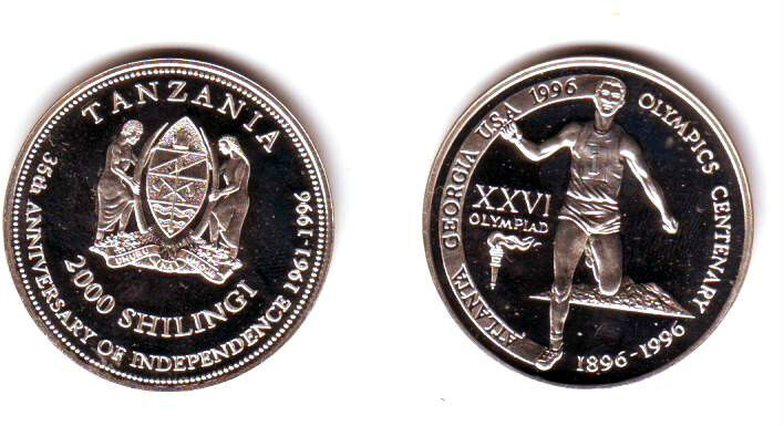 Ex.Rare 1996 Tanzania Silver 2000s Piedfort(DoublThick)pattern Olympic Runner T1