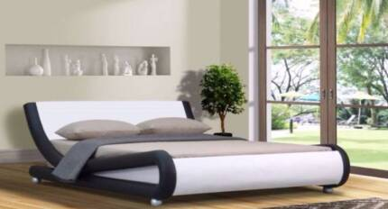Brand New Curved Pu Leather King  bed Italian Design White/Black