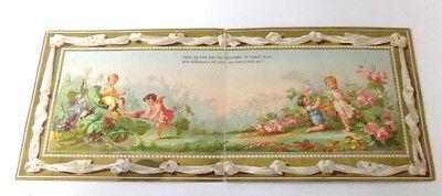 Victorian Marcus Ward & Co. Christmas Card Fairies Playing Among Flowers